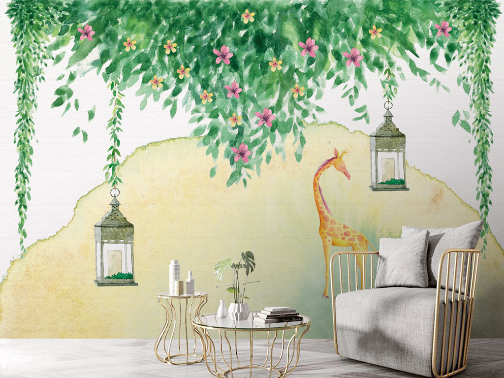 唯美森系手绘绿色藤蔓植物背景墙壁纸壁画