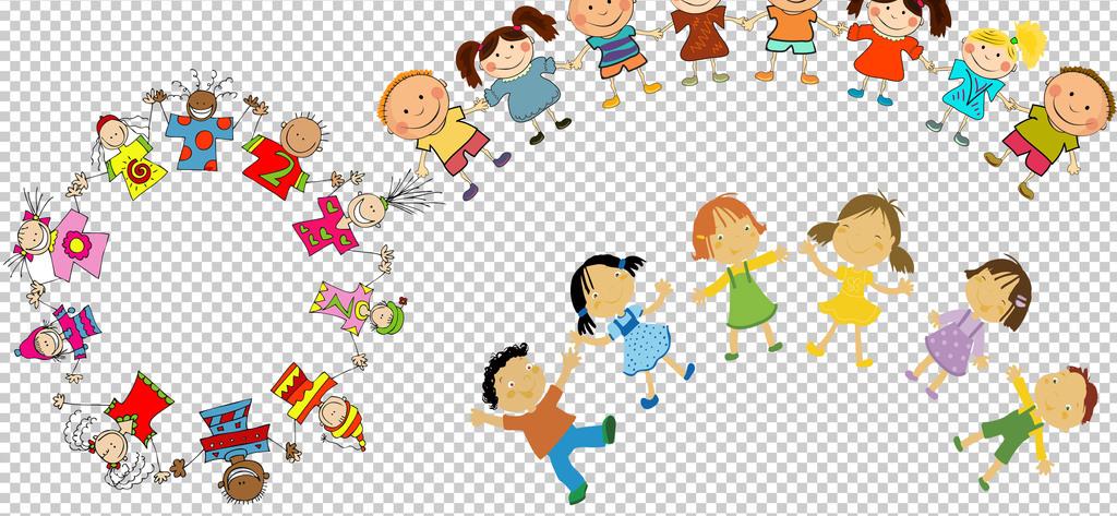 0153小朋友儿童手拉手卡通手绘小朋友我们在一起免抠素材