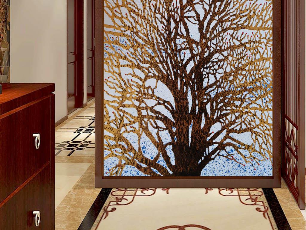 手绘发财树玄关装饰画
