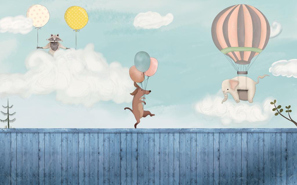 高清手绘卡通热气球大象袋鼠蓝天白云背景墙