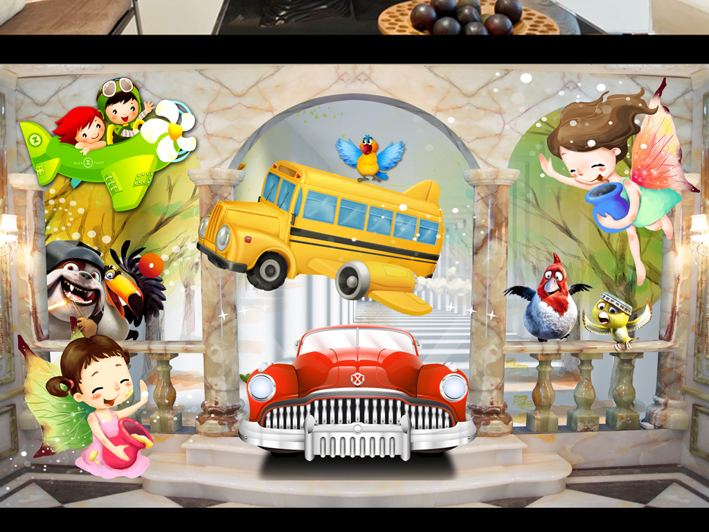 3d卡通儿童房3d卡通小孩房背景墙壁画