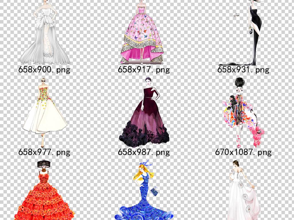 72款手绘晚礼服模特PNG透明背景免扣素材图片