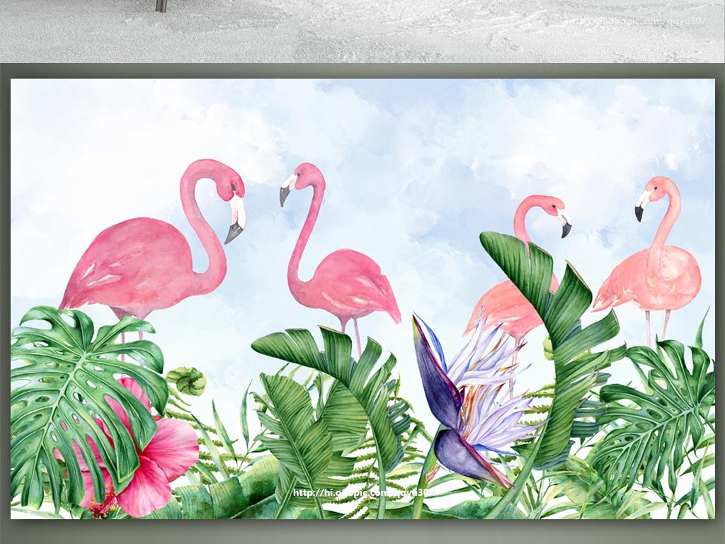 北欧热带植物绿叶火烈鸟手绘背景墙