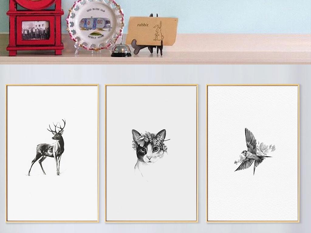 北欧时尚简约黑白手绘麋鹿动物儿童房装饰画