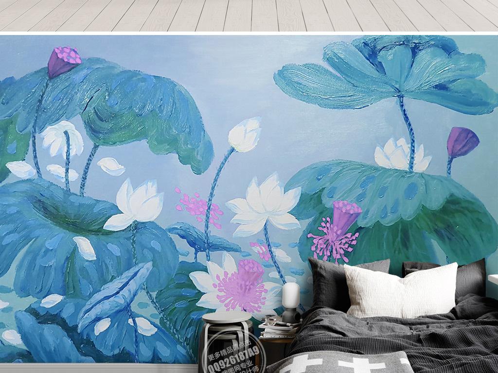 新中式唯美手绘荷花电视沙发背景墙