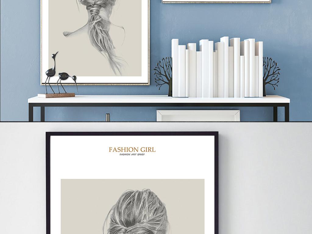 现代时尚手绘美女简约铅笔画家居装饰画