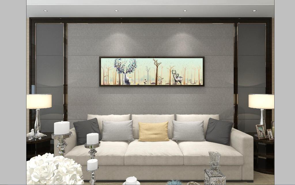 新中式水彩山水大树麋鹿电视沙发背景墙图片