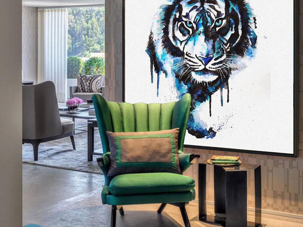 孟加拉虎头像东南亚手绘水彩欧式家居装饰画