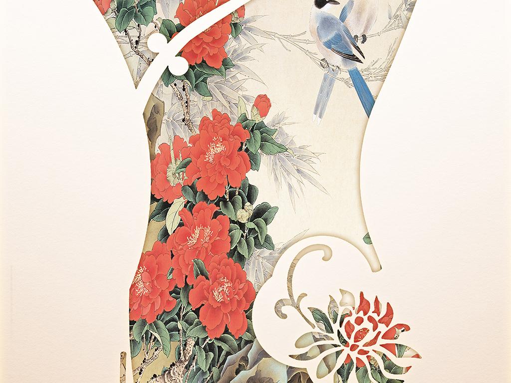 新中式工笔画花鸟古典礼服旗袍两联装饰画