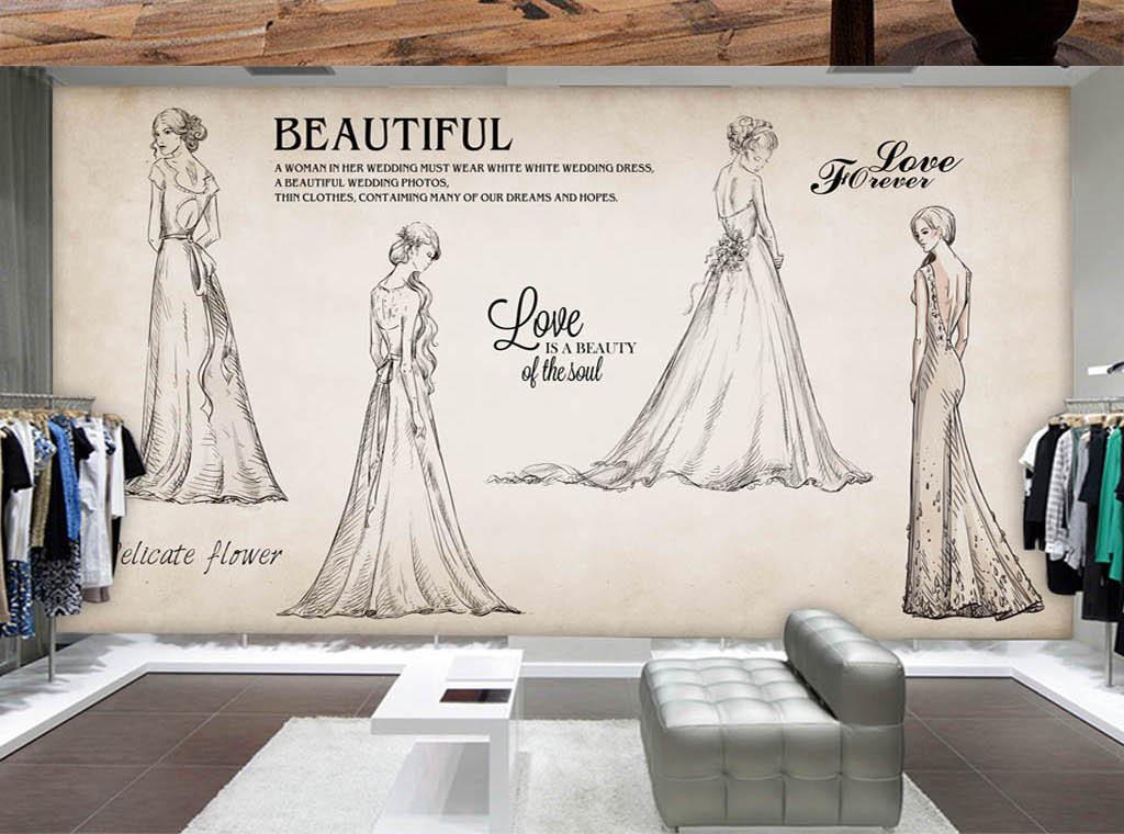 欧美复古手绘婚纱美女服装店背景墙
