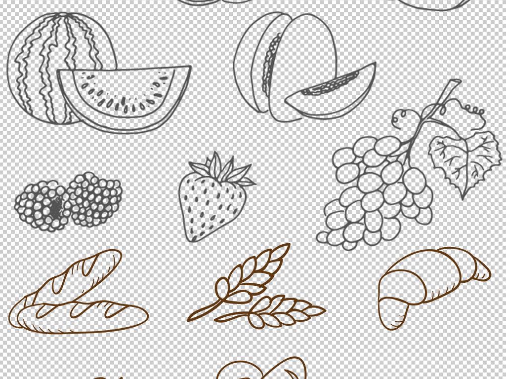手绘线描美味食物背景png素材