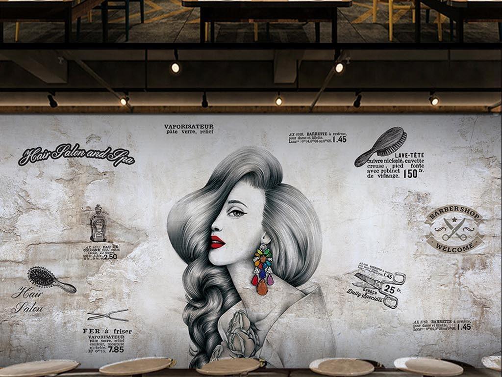 背景墙|装饰画 工装背景墙 形象墙 > 欧美工业风水泥墙美容美发理发店