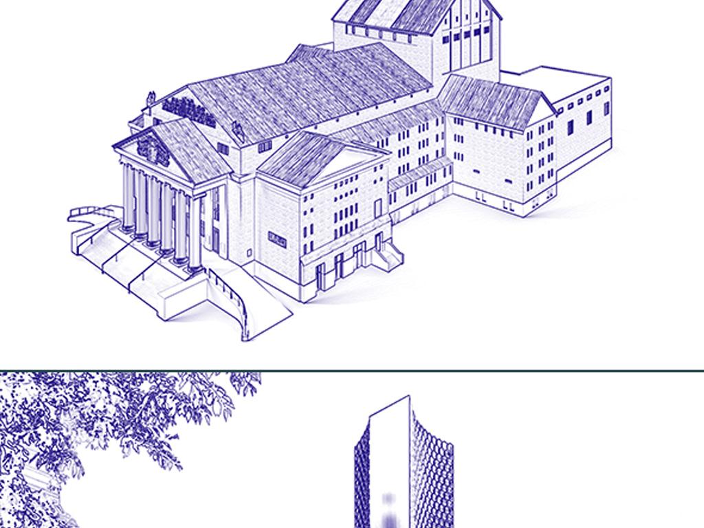 ps建筑草图化插件照片转手绘风格ps动作图片设计素材