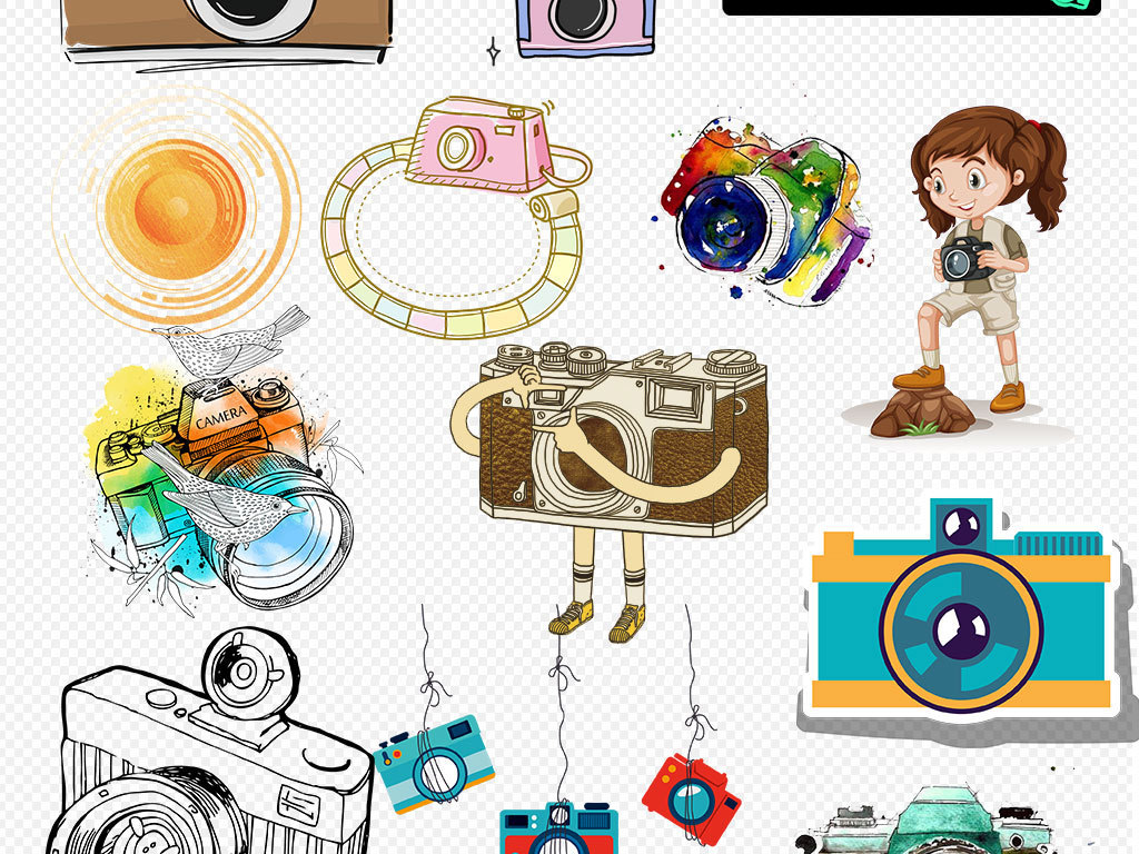 卡通相机摄影图标海报素材图片下载png素材 效果素材