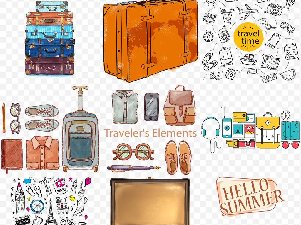 手绘旅行箱包背包旅行箱海报设计元素png