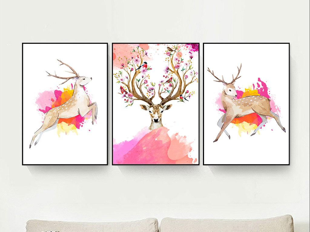 现代简约水彩手绘发财鹿麋鹿北欧装饰画