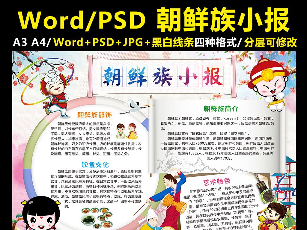 朝鲜族小报56个民族手抄报少数民族电子版图片