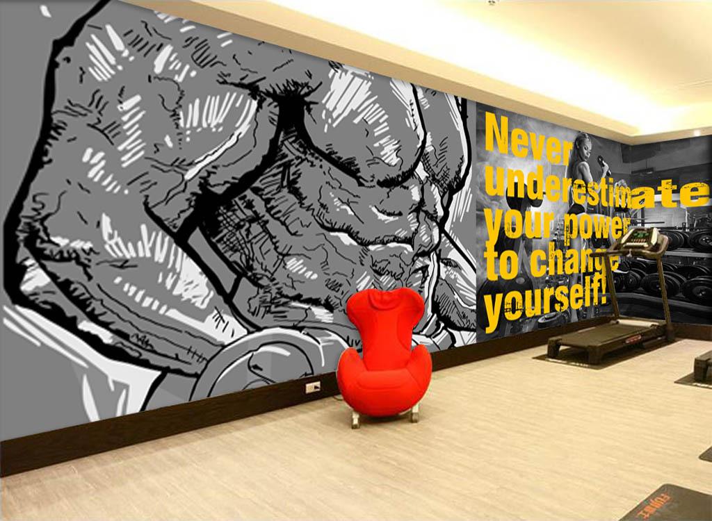 欧美时尚手绘运动健身背景墙