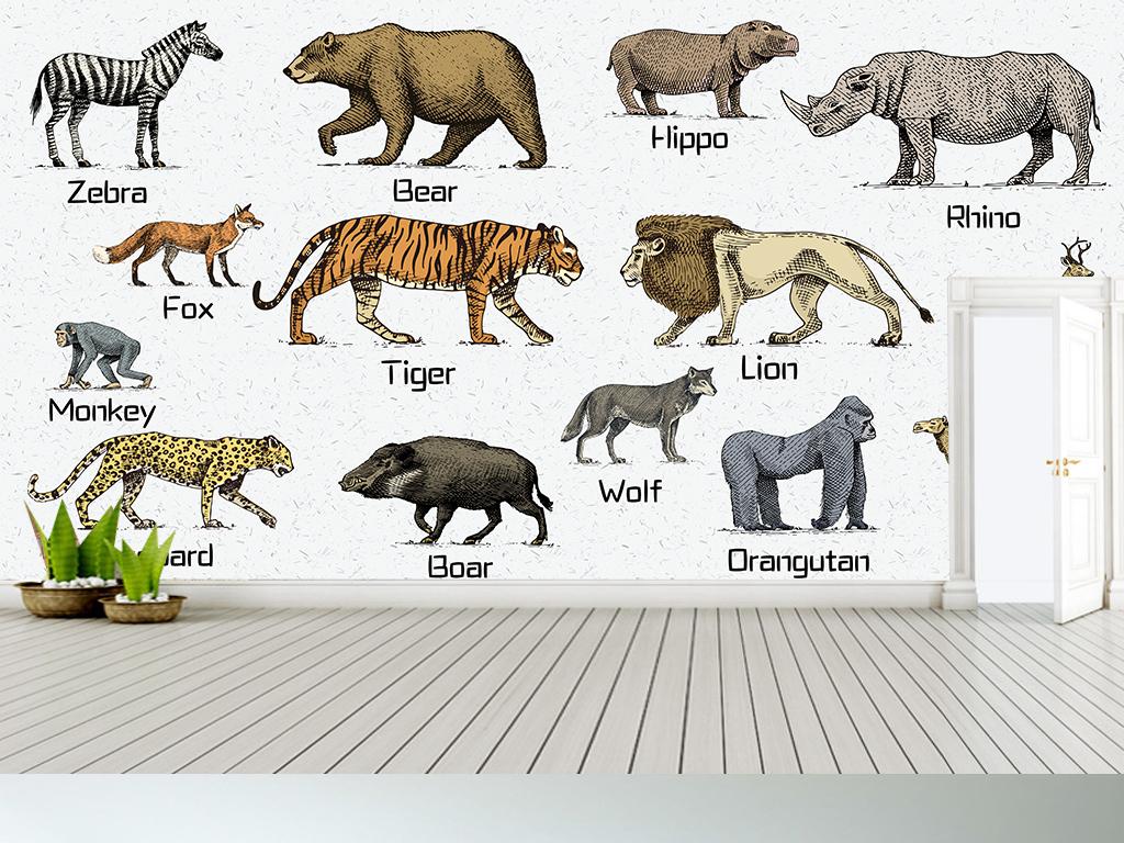 手绘波普动物园英语学习长款儿童房背景墙