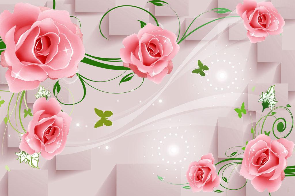 现代唯美简约3d玫瑰欧式玫瑰花藤背景墙
