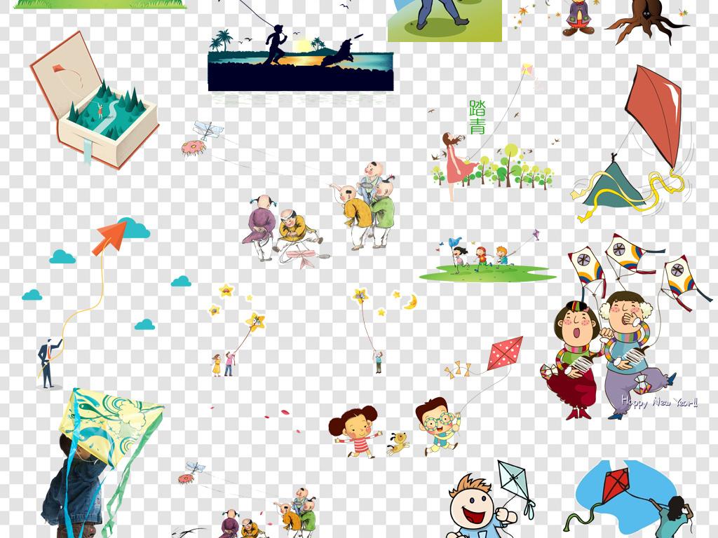 卡通手绘放风筝png海报素材图片