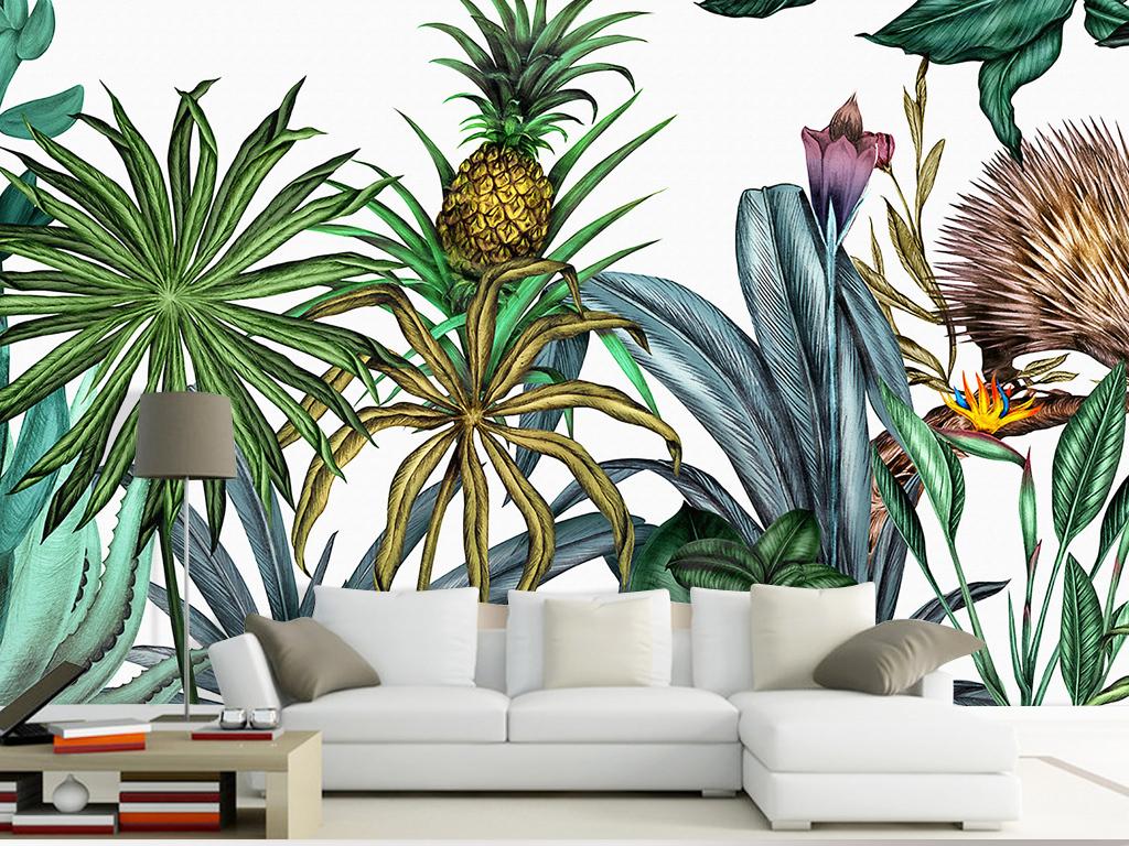 手绘菠萝热带植物花鸟卡通美式背景墙壁纸