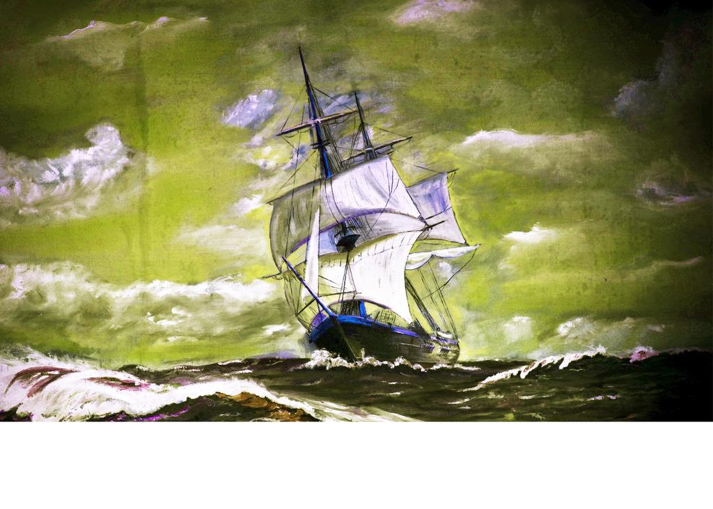 手绘地中海帆船