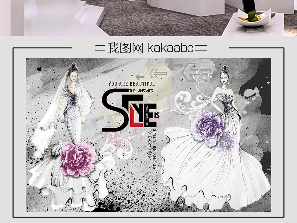 个性黑白背景时尚手绘婚纱服装店卖场背景墙