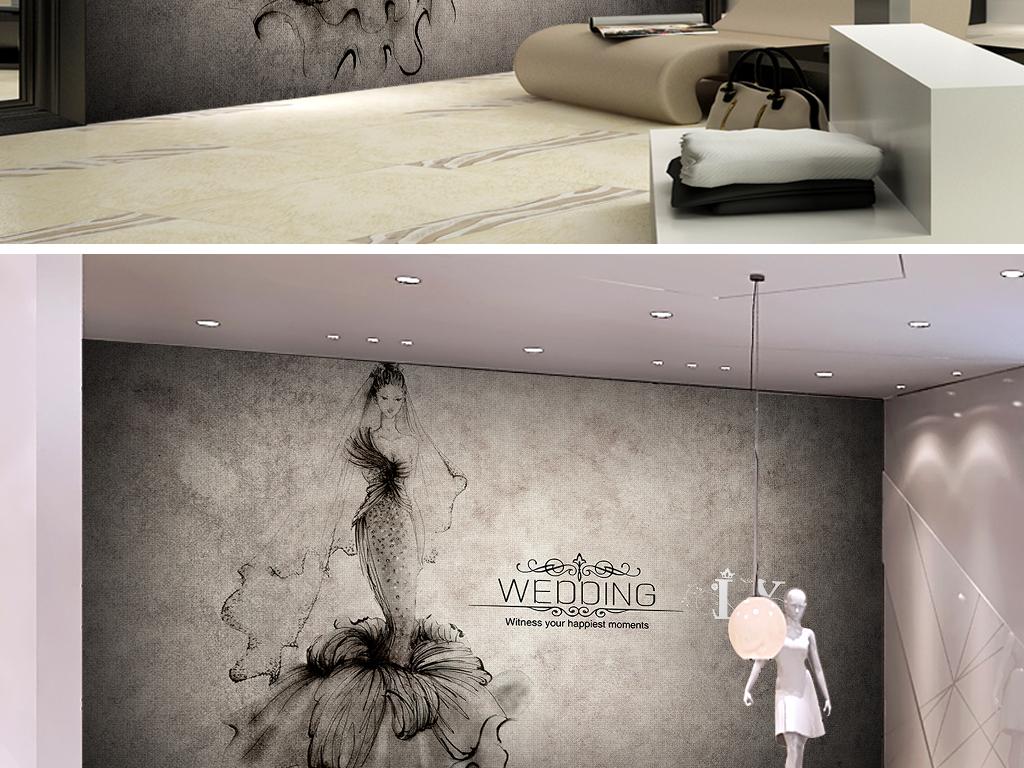 个性复古手绘婚纱服装店卖场背景墙