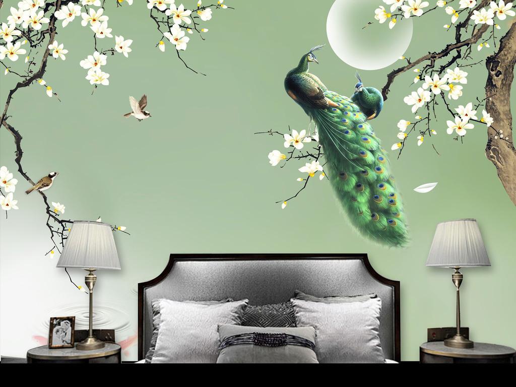 新中式手绘玉兰绿孔雀花鸟背景墙