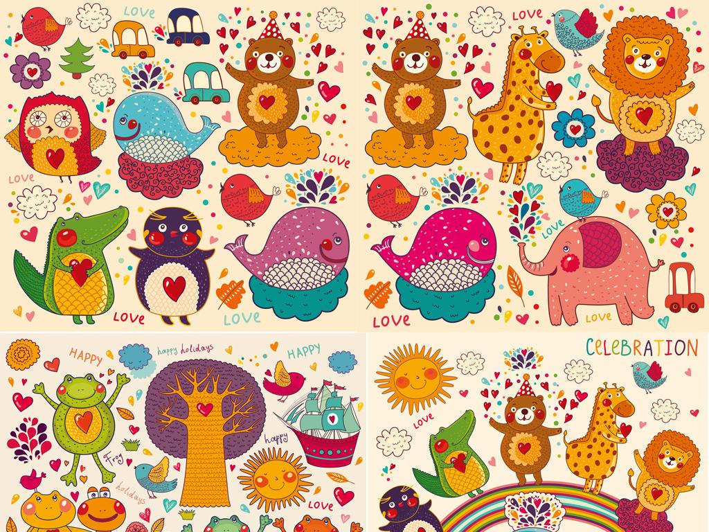 手绘涂鸦卡通动物母婴儿童装用品烫画印花贺卡幼儿园矢量图案素材