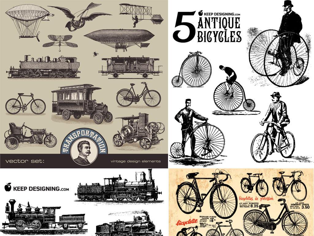 复古老式线描手绘英国风情火车老爷车马车自行车飞机帆船eps矢量图