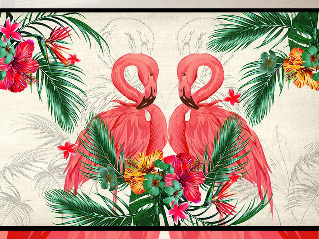 背景墙|装饰画 电视背景墙 东南亚背景墙 > 东南亚热带植物火烈鸟客厅