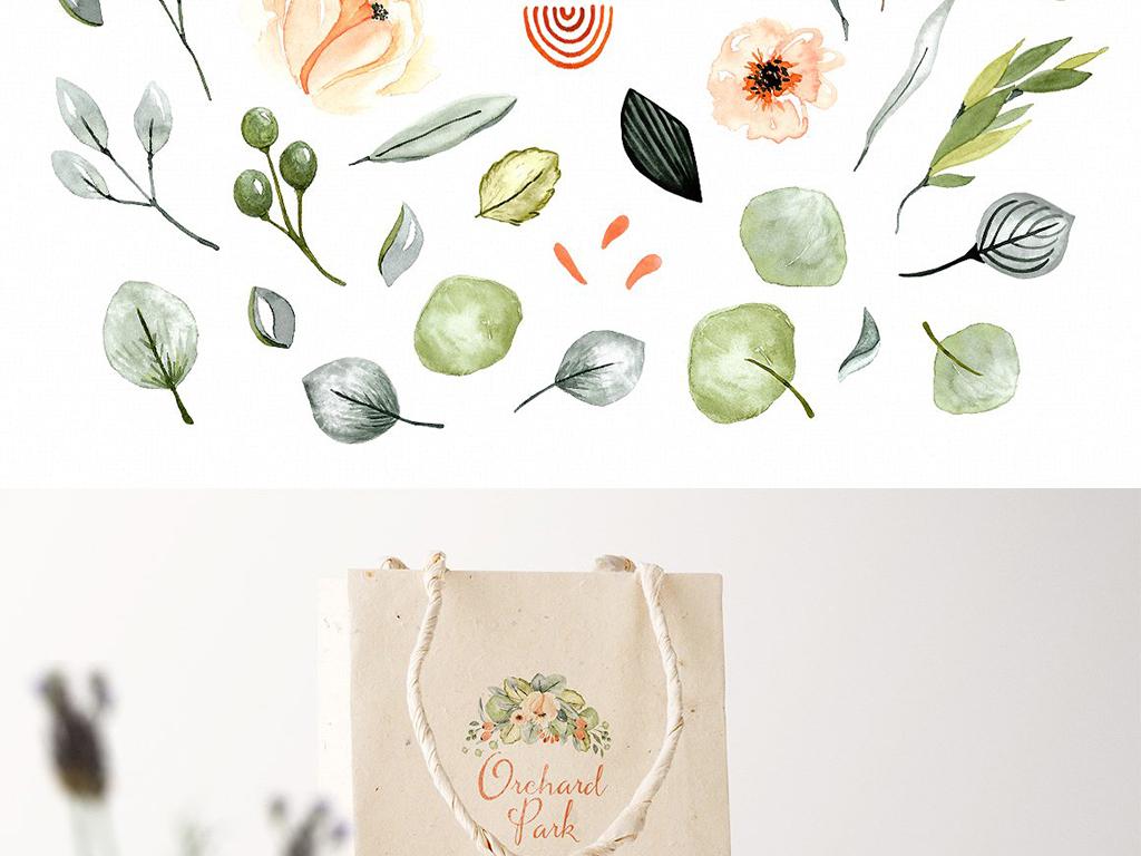 淡雅文艺手绘水彩花卉植物花环图案矢量元素