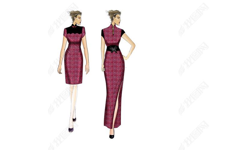 酒店中式咨客旗袍服装设计PSD效果图