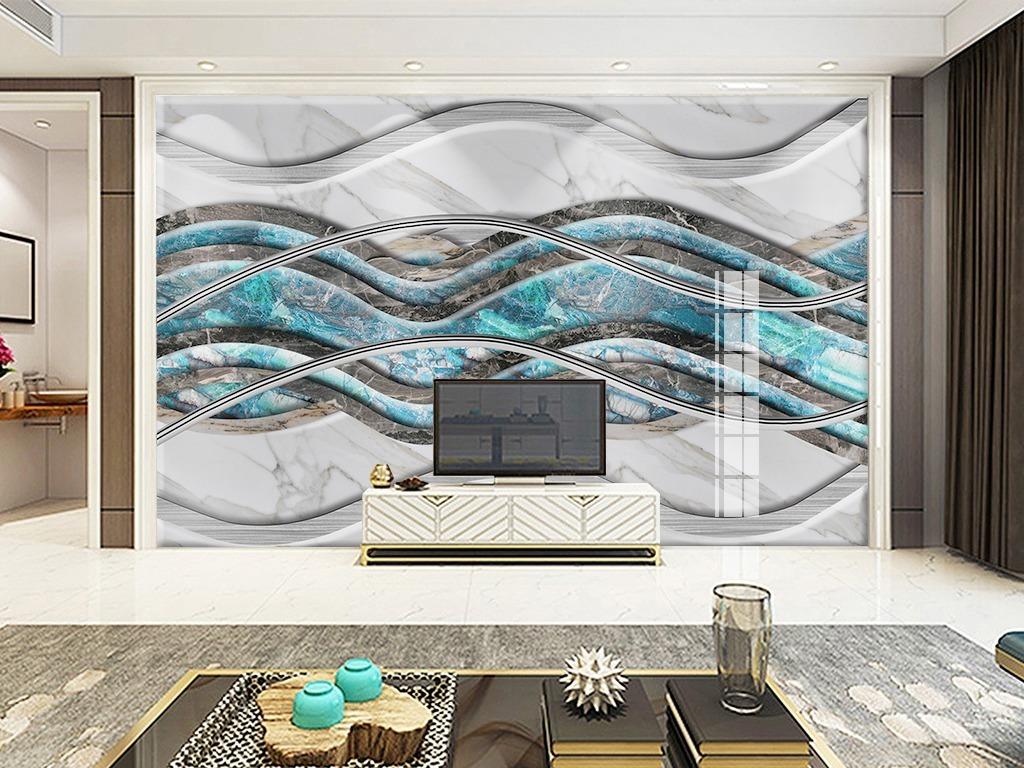 现代简约弧形波浪纹大理石背景墙