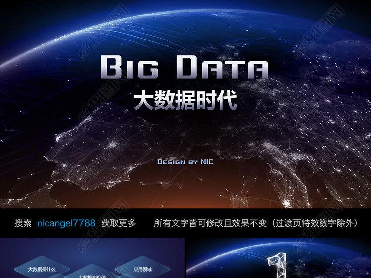 互联网大数据ppt模板云计算科技