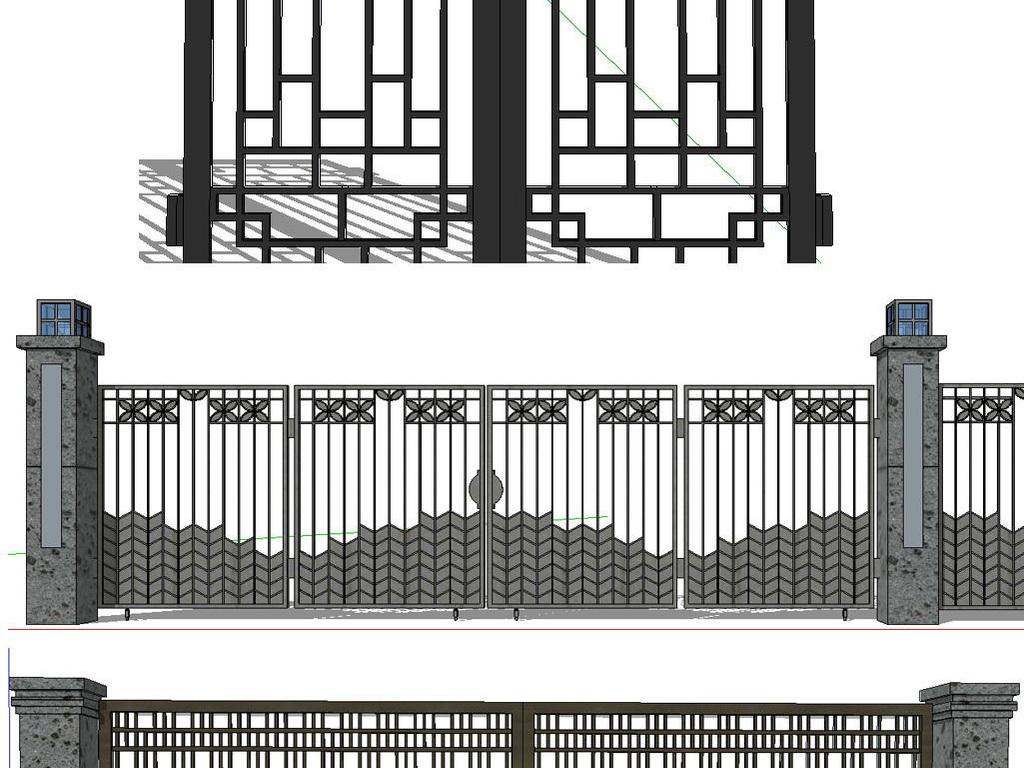 新中式铁艺门新中式围墙新中式景观柱模型图片