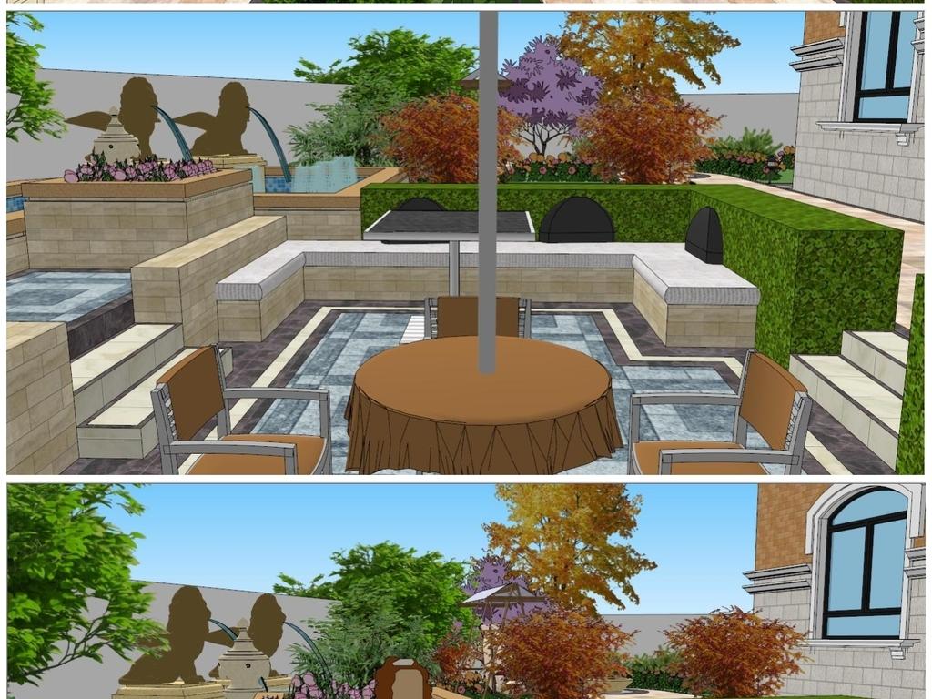 欧式别墅花园庭院su模型素材设计图下载(图片37.54mb)图片