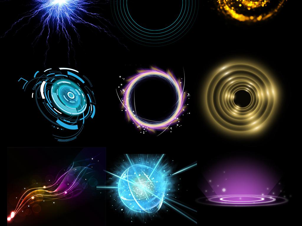50款圆形光圈光效炫光光影科技背景素材