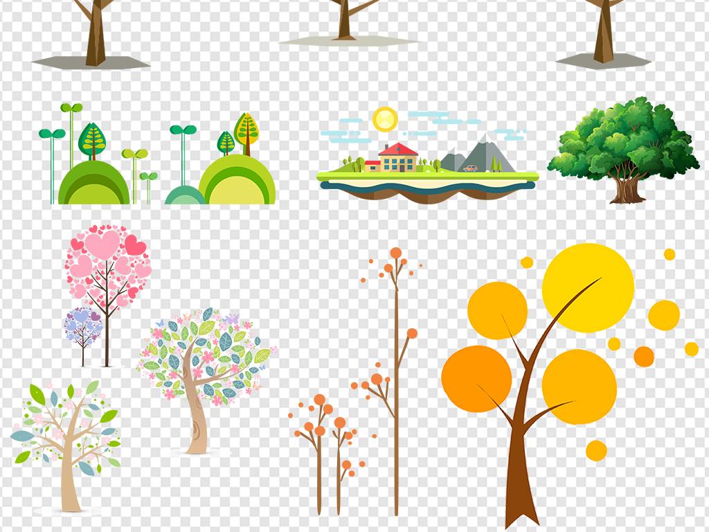 背景 广告背景 其他 > 卡通树素材大树树木小树植物png素材  素材图片图片