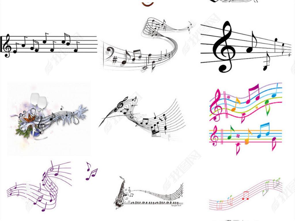音乐五线谱音符png分层素材
