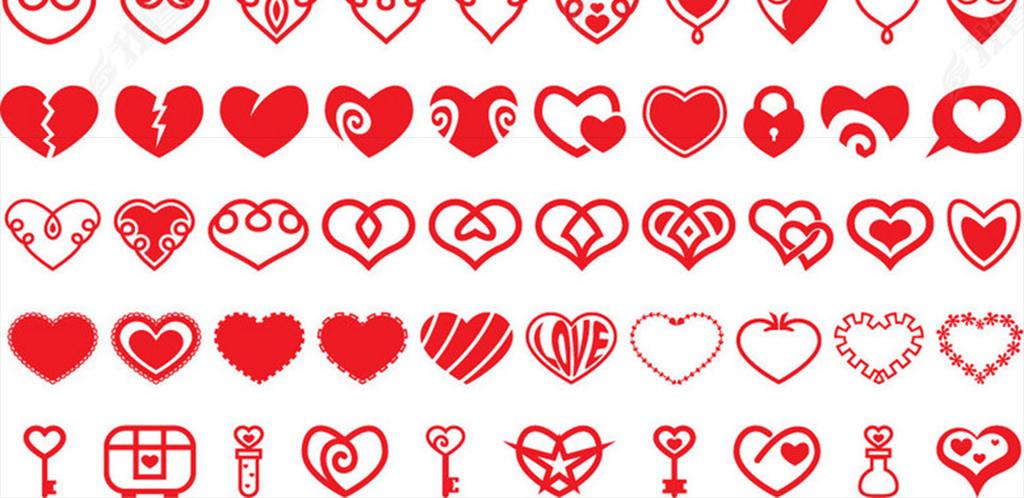 卡通红色爱心png分层素材