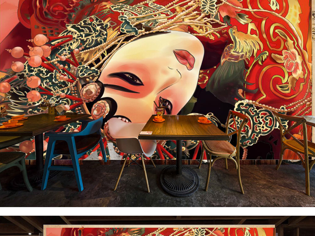 复古怀旧手绘京剧花旦餐饮背景墙