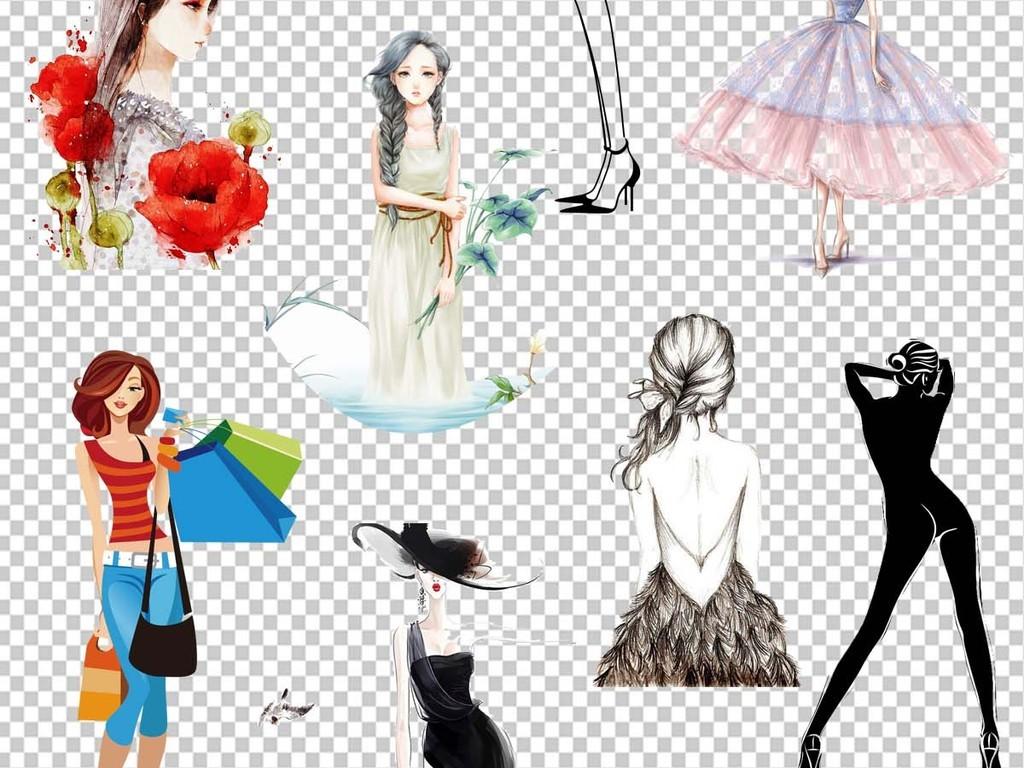手绘彩绘美女卡通时尚海报设计png透明免扣素材图片