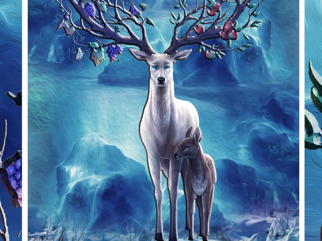迷幻森林麋鹿玄关背景墙