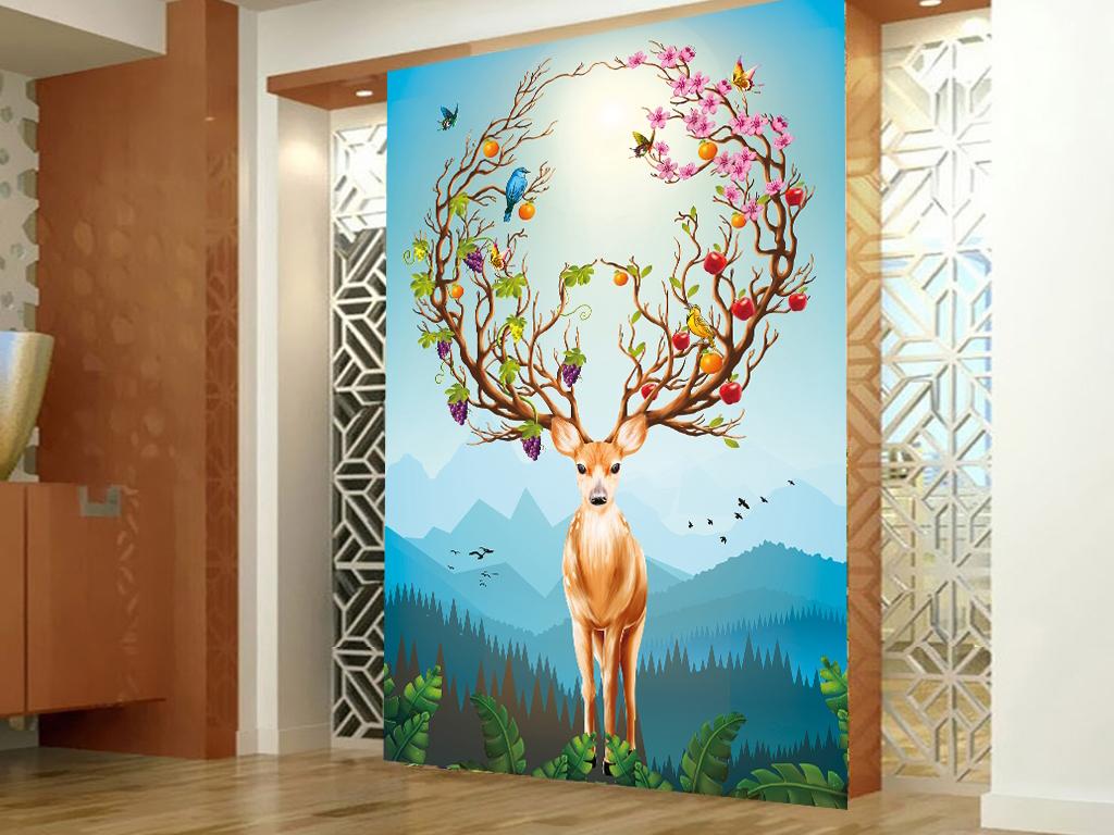 原创高清手绘梦幻山水麋鹿玄关壁画背景墙