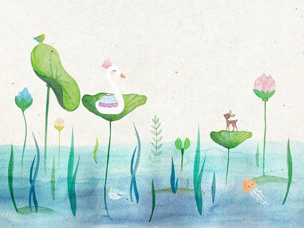 森系水彩梦幻岛参观日手绘素材