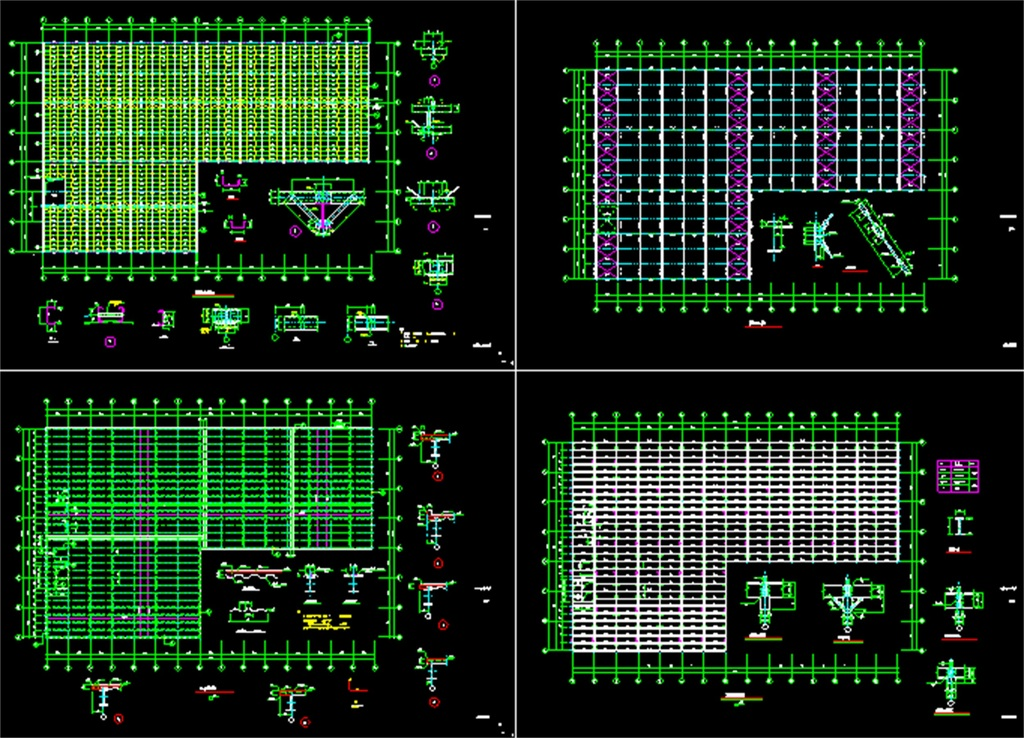 钢结构厂房cad设计图纸平面图_dwg施工图下载(3.06mb)