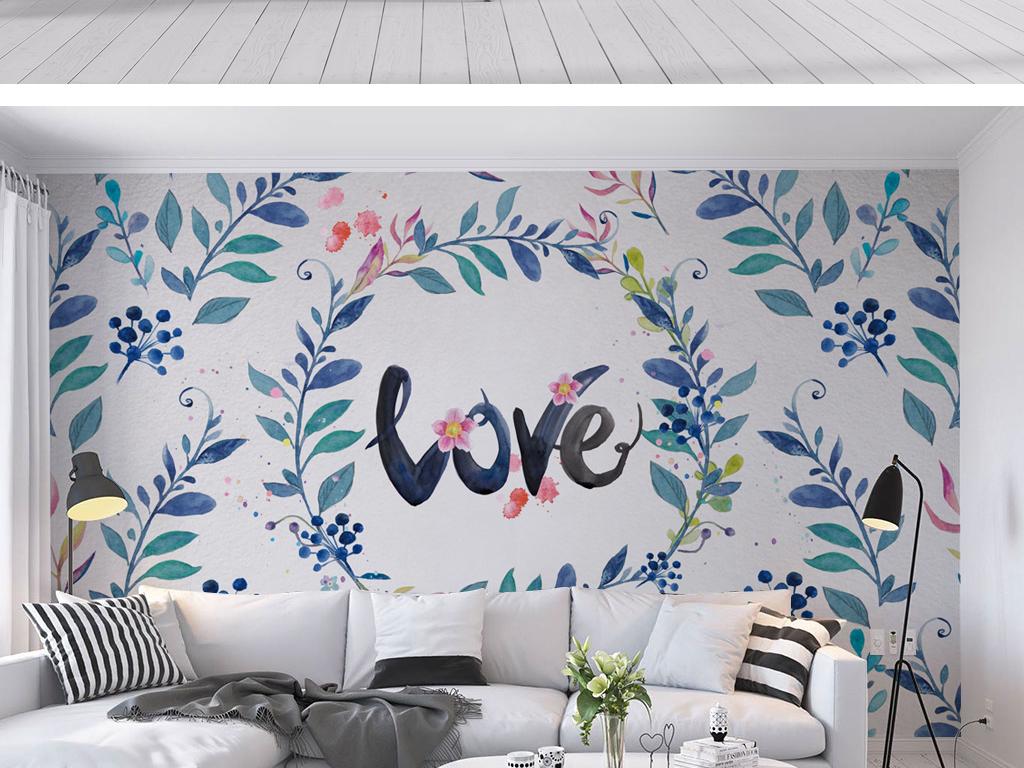 北欧风手绘植物花卉背景墙壁纸壁画